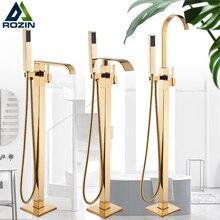 Rozin altın küvet duş musluk zemin üstü banyo duş musluk bataryası ücretsiz ayakta şelale Robinet de baignoire