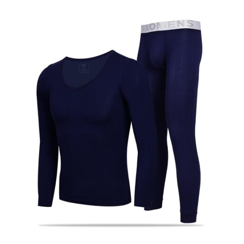 Modal Long Johns Set Mens Thermal Underwears Sleepwear O neck Long Sleeve Tops Pants Warm Winter Thermal Suit Plus Size M XXXL