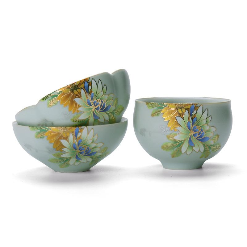 Chinese Style Sky Blue Ceramics Teacups Flower Pattern Tea Cup Porcelain Travel Tea Bowl Pottery Tea Ceremony Teaware Sets|Teaware Sets| |  - title=