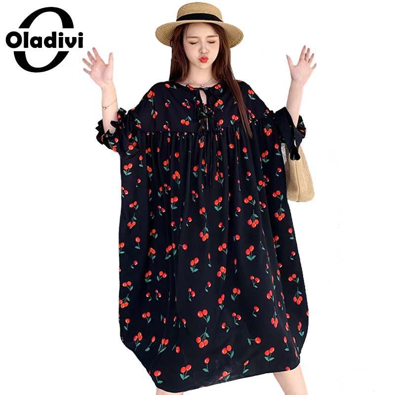 Oladivi Oversized Plus Size Women Shirt Dress Ladies Fashion Cherry Print Casual Loose Tunic Dresses Top Tees Vestidio 10XL 8XL(China)