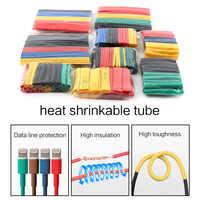 164 unids/set funda de Tubo termorretráctil Cable de alambre de manga de aislamiento termoretractil poliolefina termorretráctil tubo 1 2 3 4 6 8 10 14mm