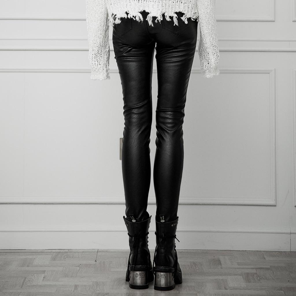 Панковские рейв женские в стиле панк с ушками контрастного цвета с поясом из искусственной кожи брюки облегающие эластичные женские обтяги... - 3