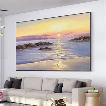 Hand-painted Modern Abstract Landscape Boats Sunset Oil Painting on Canvas Handmade Seascape Wall Art Sailing Sea Wall Decor