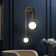 Modern Led Wall Lamp Glass Ball Bedroom Bedside Creative Background Nordic Lighting Luxury Living Room Sconce Aisle Decor Lights
