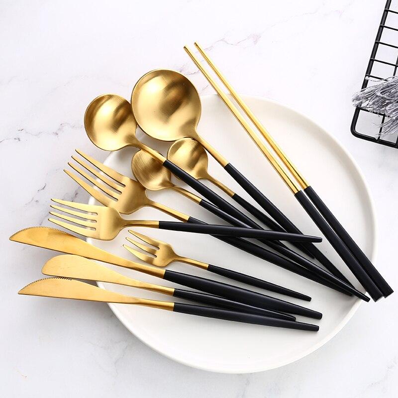 Conjunto de talheres de ouro preto bife faca garfo colher de café colher de chá sobremesa faca colher de gelo pauzinhos de jantar de aço inoxidável conjunto