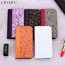 Luxury colorful shiny flip cover leather wallet for iPhone 5S 6S, 7 , 8 Plus X, XS max XR mobile phone case