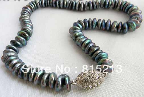 N1711 A 12mm czarna moneta słodkowodna perła naszyjnik 28% rabat nowy