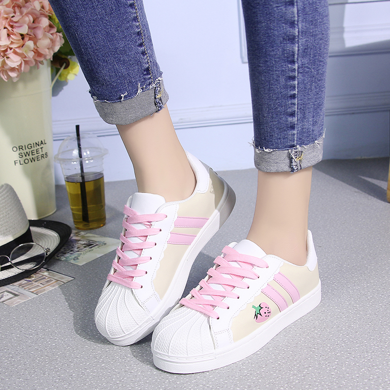 Japanese sweet lolita shoes round head flat strawberry board shoes kawaii girl sneakers kawaii shoes loli cos