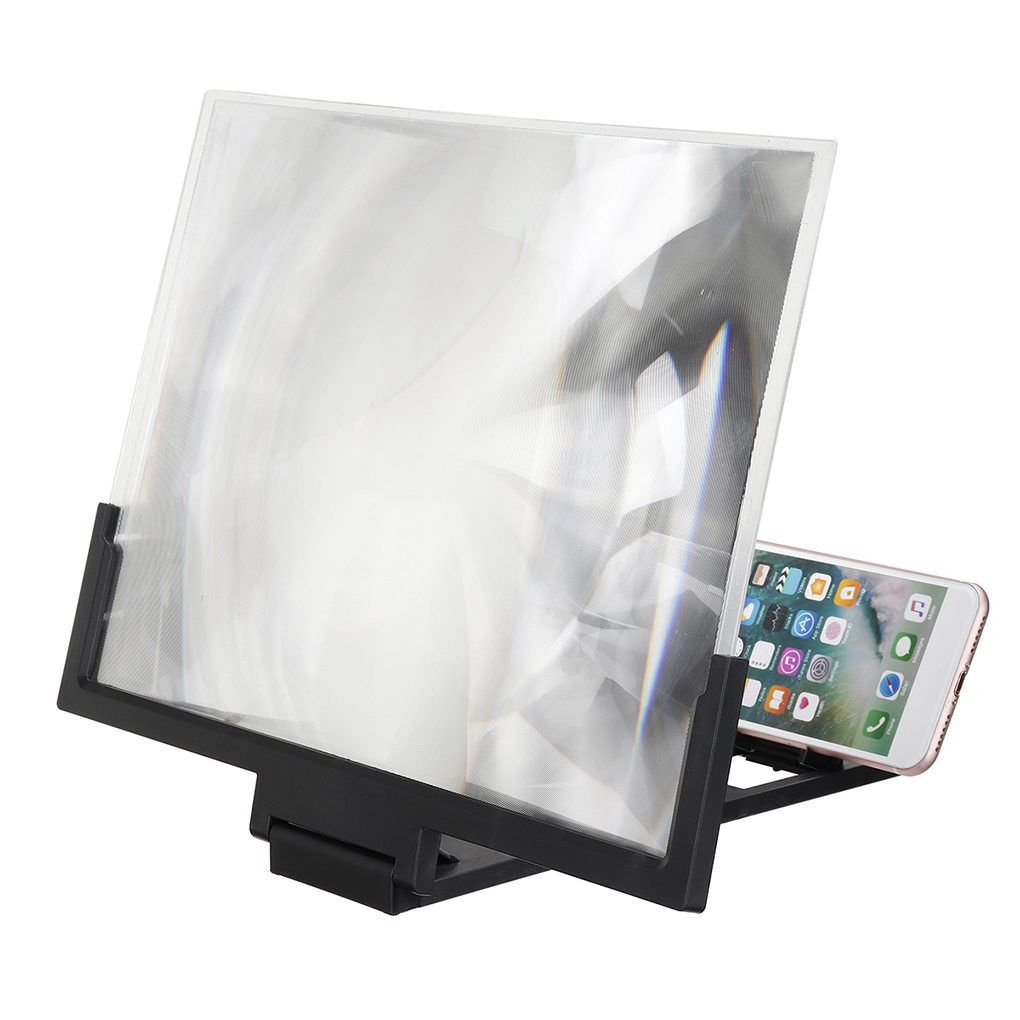 Random Color 3D Zoom Magnifying Glass Screen HD Amplifier for Mobile Phone Magnifier Phone Holder Stand 14inch Black or White