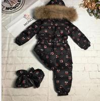 2019 Winter Jacket child jackets children jumpsuit snow suit girl boy letter overall down romper ski suits outerwear