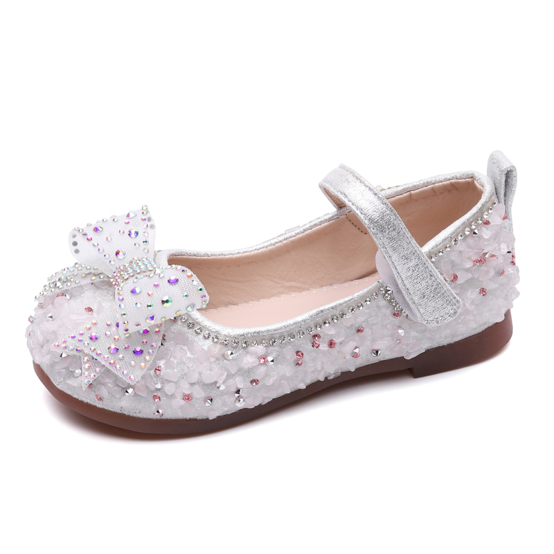 Baby Girls Shoes Toddlers Dress Shoes For Wedding Party Kids Children Flats Mary Janes With Bow-knot Bling Rhinestone Crystal