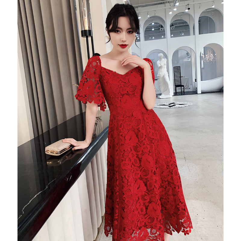 Burgundy Square Neck Evening Party Dress Sexy Bridal Wedding Chinese Dress Lace Pleated Cheongsam Robe De Soiree Slim Qipao