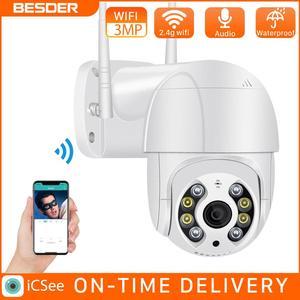 BESDER 3MP PTZ WiFi Camera Motion Two Voice Alert Human Detection Outdoor IP Camera Audio IR Night Vision Video CCTV Surveillan
