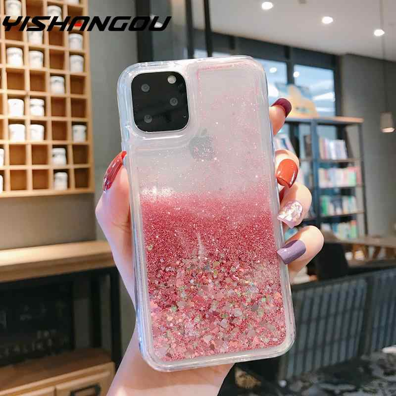 For iPhone 11 Pro XS Max XR Diamond Dynamic Liquid Glitter Clear Soft Rubber Case Cover For Xiaomi 9 9T Redmi 7 K20 Note 7 8 Pro