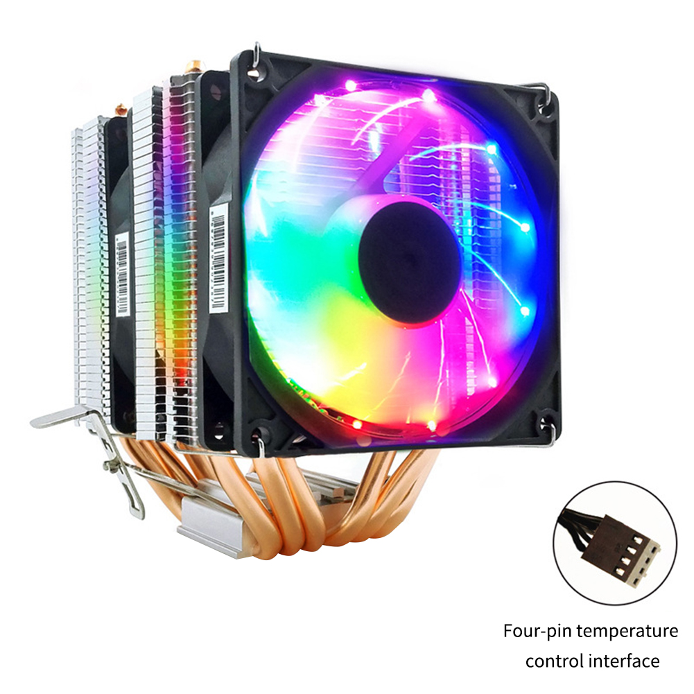 CPU Cooler 6 Heat-pipes dual-tower Cooling System 4PIN RGB Fan and 3PIN CPU Fan for LGA 775 1150 1151 1155 1156 Support AMD AM4 image
