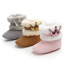 Модная зимняя обувь для принцесс для маленьких девочек из мягкого плюша; с блестками; зимние ботинки комплект одежды для новорожденных, малышей и детей младшего возраста состоящий из теплой с блестками; туфли с короной