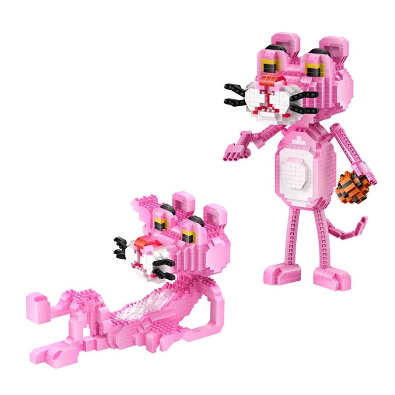 América engraçada dos desenhos animados figuras micro bloco de diamante pantera rosa construção tijolos montar brinquedos nanobicks para crianças presentes