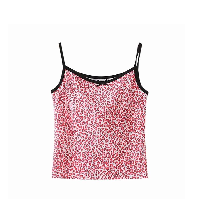 2020 Summer Crop Top Women Sexy Pink Crop Top Cute Leopard Print Top Cute Tie Front Top Vintage Ribbed Cami Tops