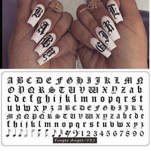12X6cm alfabeto-01-Placa de sellado 32 tipos de viejo inglés alfabeto y números de placa lindo alfabeto Placa de estampado para manicura