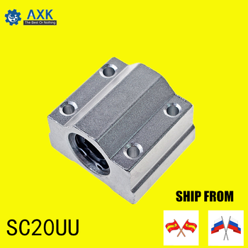 linear rail SC20UU (4pcs) SCS20UU 20mm linear ball bearing slide unit 20mm linear bearing block for DIY CNC Router linear slide high precision 20mm linear guide rail sets 1pcstrh20 l 1300mm linear rail 2pcs trh20a carriages slide block for cnc parts