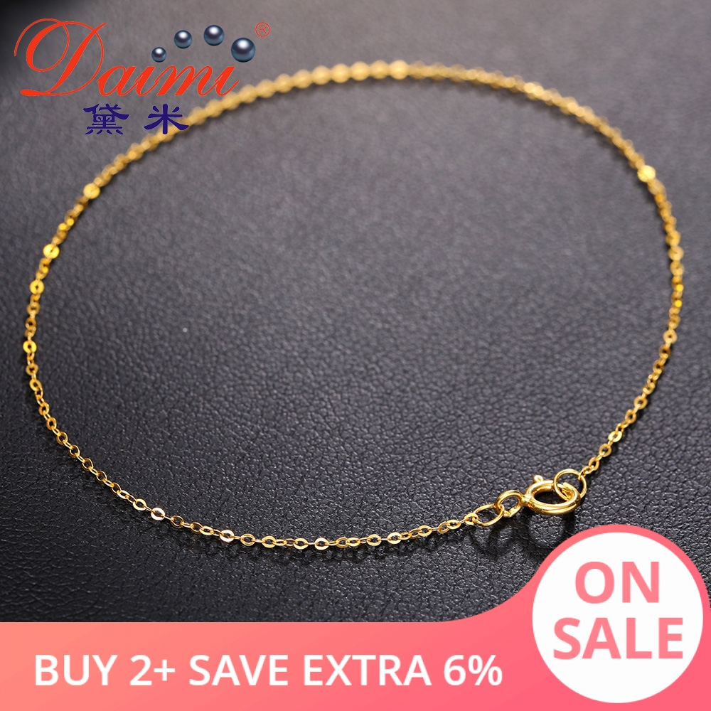 DAIMI Pure Gold Bracelet Chain 18K Yellow Gold Chain Light Chain Gold Bracelet