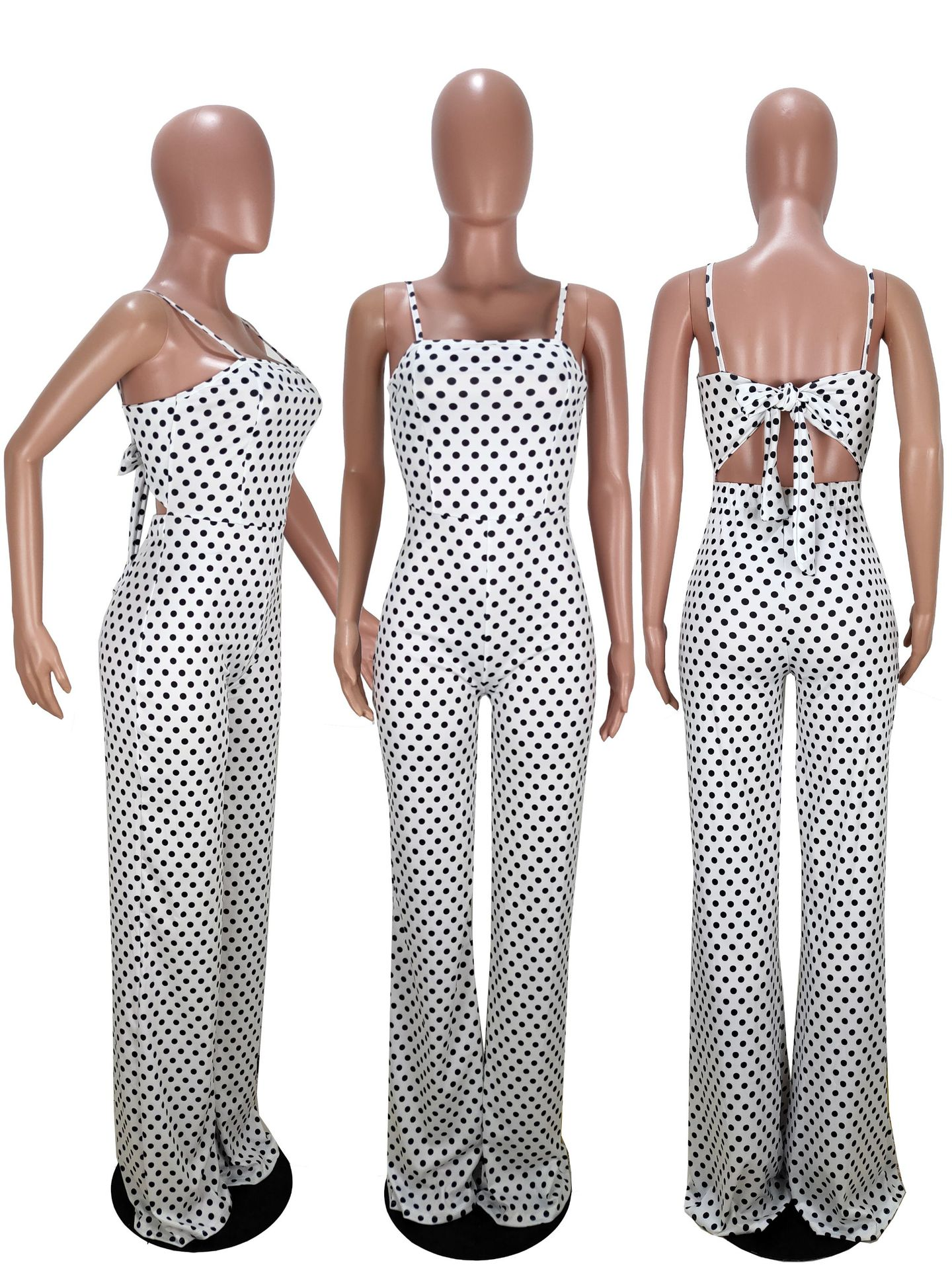 Goocheer New Fashion Women 39 s Strap Sleeveless Jumpsuit Polka Dot Wide Leg Romper Ladies Casual Slim Playsuit Holiday Party Wear in Jumpsuits from Women 39 s Clothing