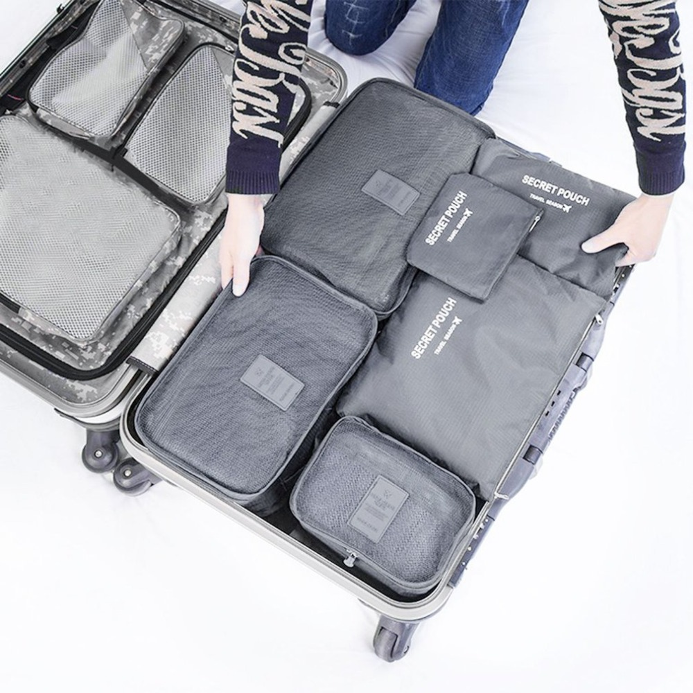 Korean Style Portable Durable Eco-Friendly 6 Pcs/Set Square Travel Home Luggage Storage Bags Clothes Organizer Pouch Case