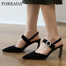 FOREADA Two Piece Shoes Woman Real Leather High Heels Pointed Toe Stiletto Heel Pumps Kid Suede Pearl Female Footwear Black 39 faux pearl pointed toe stiletto heels