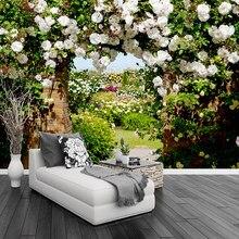 Personalizado 3d mural papel de parede estilo pastoral rosa lobby paisagem fresco sala estar quarto cafe romântico pano de fundo decoração mural