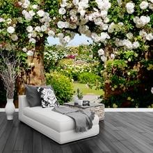 Mural Wallpaper Bedroom Landscape Custom 3d Living-Room Pastoral-Style Rose Cafe Backdrop