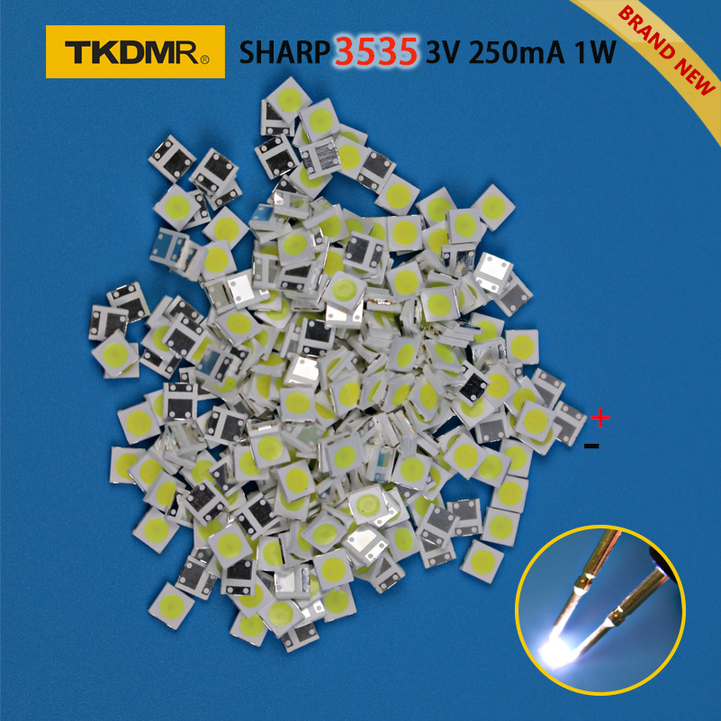 TKDMR 50pcs SHARP High Power LED LED Backlight 2W 3535 3V 6V Cool White 135LM TV Application Free Shipping