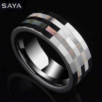 8mm Tungsten Wedding Ring Unisex Band High Polished with Two Pieces Shells Free Gift Box, Shipping, Customized