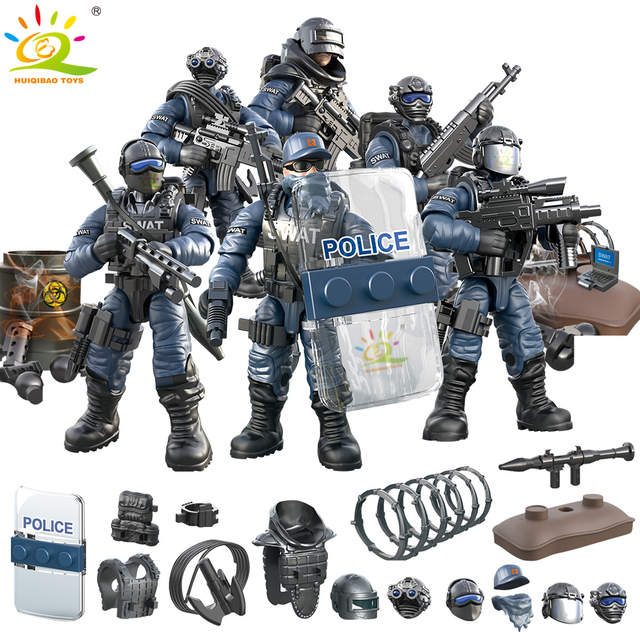 HUIQIBAO Military SWAT POLICE Soldier Bricks Figures set with Gun Weapon Army ww2 city Building Blocks children toys