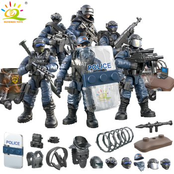 HUIQIBAO Military SWAT POLICE Soldier with Gun Bricks Figures Set Weapon Army WW2 City Building Blocks Children Toys 21pcs machine gun moc weapon pack military accessories blocks city police ww2 soldiers figures bricks parts compatible legoed