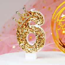 Golden Candle Gradient Color Golden Rhinestone No. 0-9 Candle Birthday Wedding Bachelor Party Decoration High-end Candle