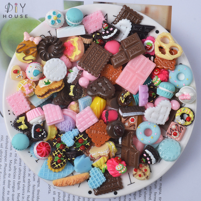 20/50Pcs Mixed Style Dessert Flatback Planar Resin Accessories DIY Craft Supplies Kids BB Hair Hair Ornaments Jewelry Materials