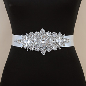 Rhinestone Beaded Women's Belt Wedding Belt Accessories Bride Bridesmaid Bridal Sashes Belts For Evening Party Prom Gown Dress(China)