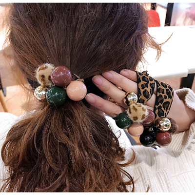 New fashion hot selling ladies round beads Leopard print head rope ladies cute Mo Landi color round beads head rope