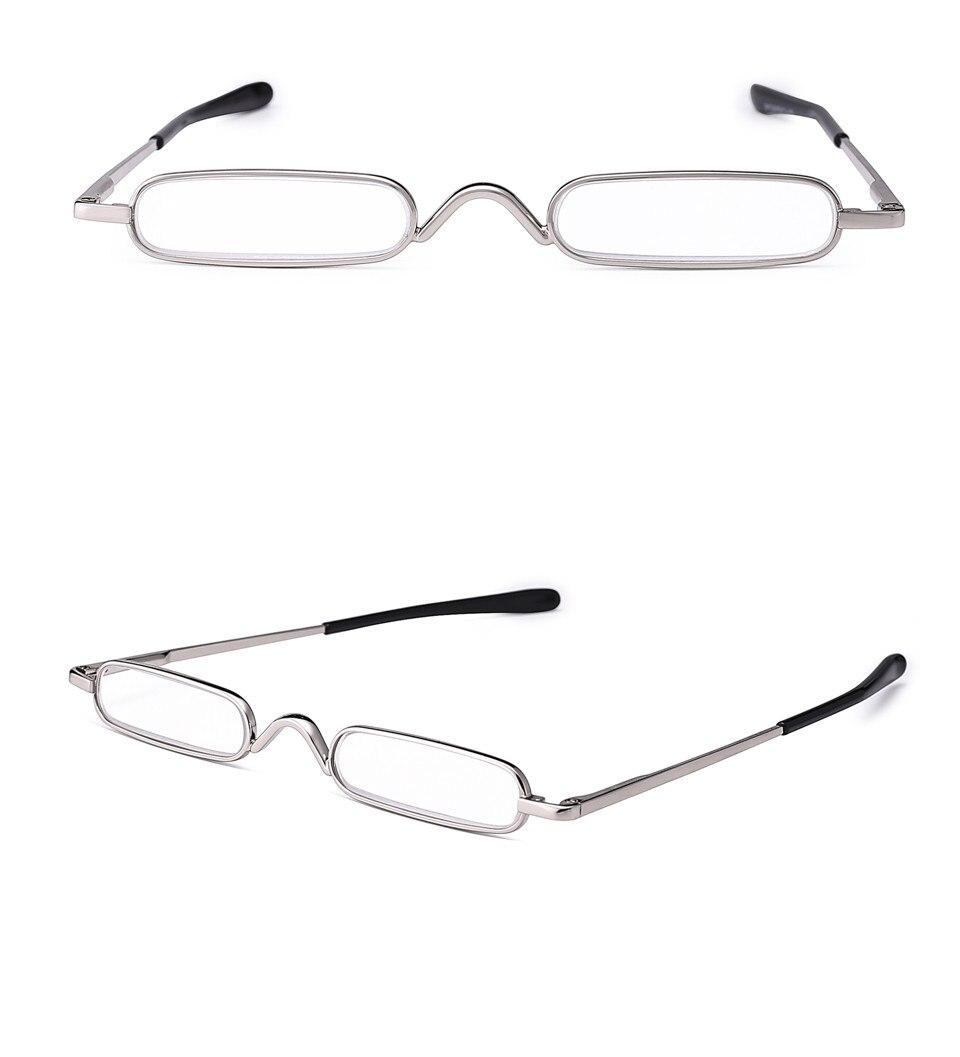 IENJOY Elegant Reading Glasses Metal Frame Ultra-thin Men Reading Glasses Portable Mini Reading Presbyopia Eyeglasses with Box