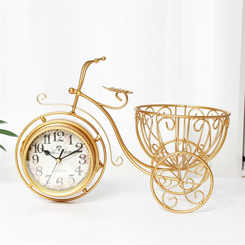 Creative Double-Sided Clock Tricycle Shape Clock Vintage Household Iron Art Mute Clock Stylish Desktop Ornament Clock Home Decor