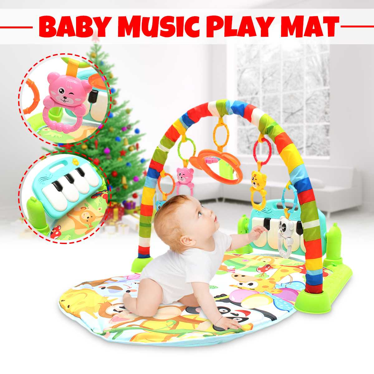 Baby Playmat Carpet Music Puzzle Mat With Piano Keyboard Educational Rack Toys Infant Fitness Crawling Mat Gift For Kids Gym