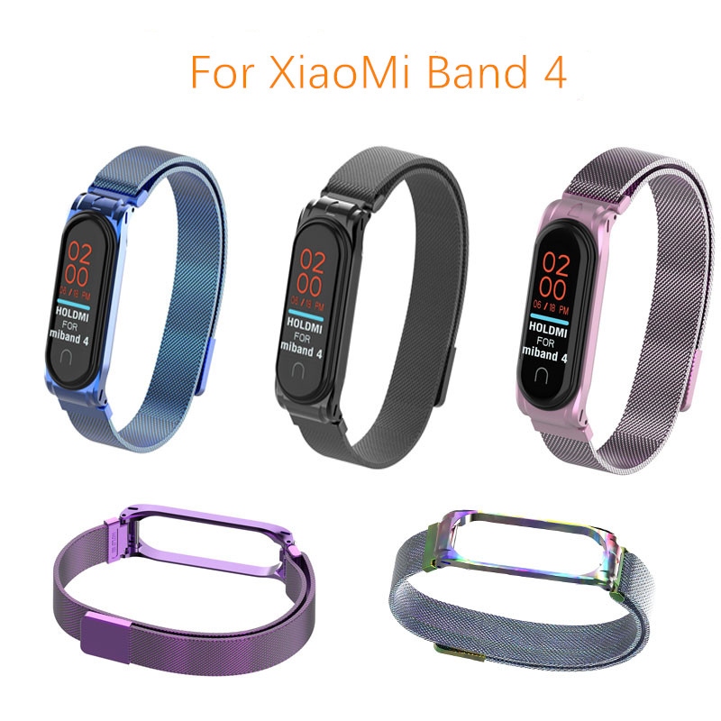 Metal Strap For Mi Band 4 Bracelet For Xiaomi Mi Band 3 Strap Carbon Fiber Smart Band Strap For Mi Band 4 Wristband Black Magnet