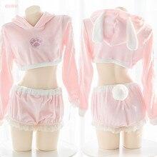 Seksowny sweter różowy kostium króliczka śliczne pluszowe Homewear Lolita Ultrashort Hollow bluzy spodenki ogon królika bielizna nocna Top i majtki