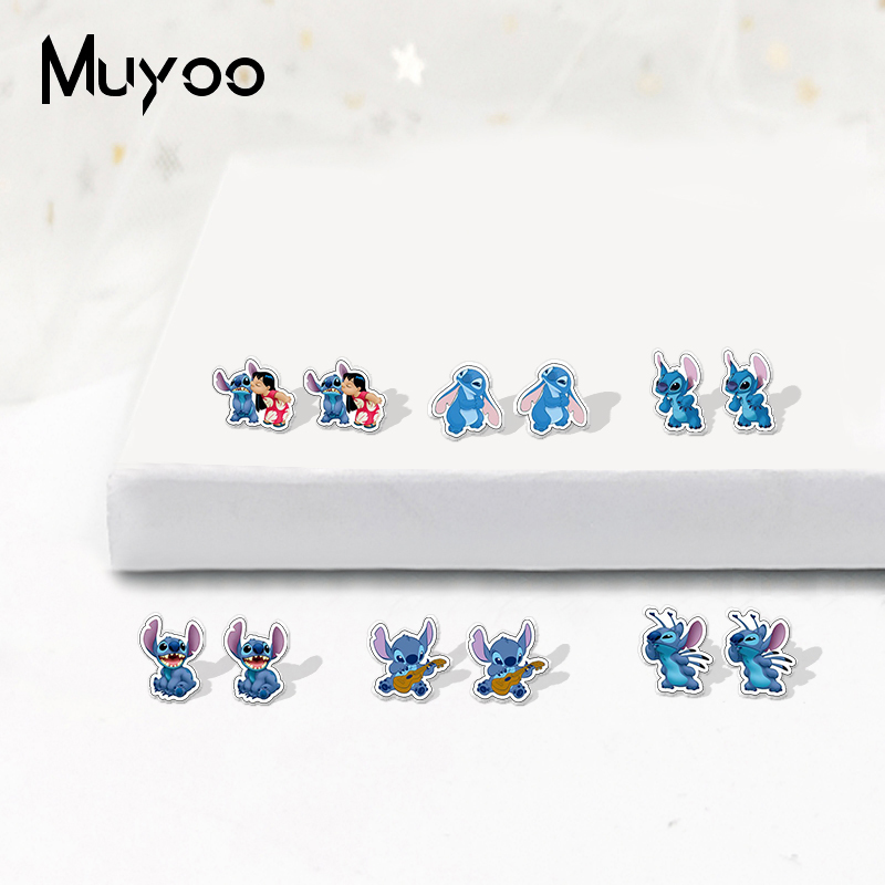 New Fashion Lilo And Stitch Icons Acrylic Epoxy Earrings Lovely Lilo And Stitch Arylic Resin Earrings Gifts For Kids