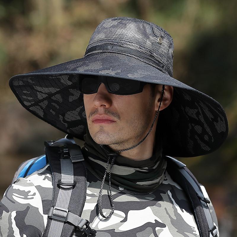 Adjustable Bucket Cap Men Summer UV-proof Camouflage Hat Outdoor Waterproof Hike Hunt Hat Mountaineering Cap Cycling Hat XA285F