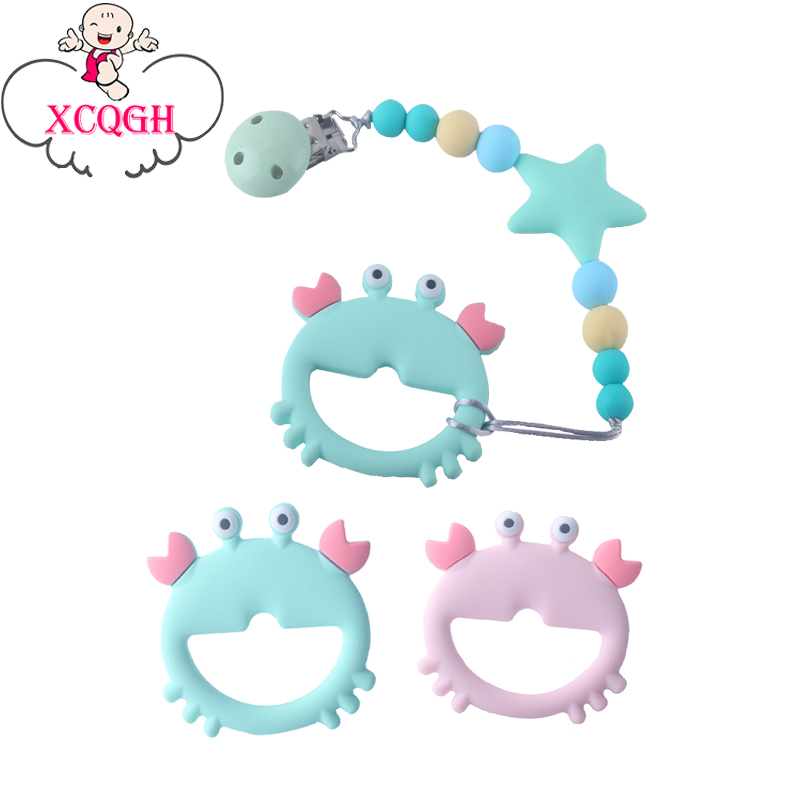XCQGH Baby Teethers Crab Cute Teether Food Grade Silicone Teething Toys With Star Pacifier Clips Chain