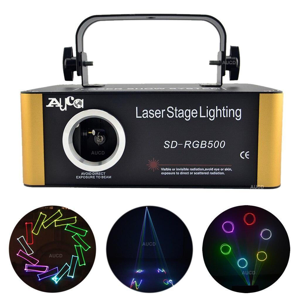 AUCD 500 МВт RGB Лазерная SD карта программа DMX анимация сканирование проектор огни диско вечерние DJ шоу луч движущийся луч сценическое освещение