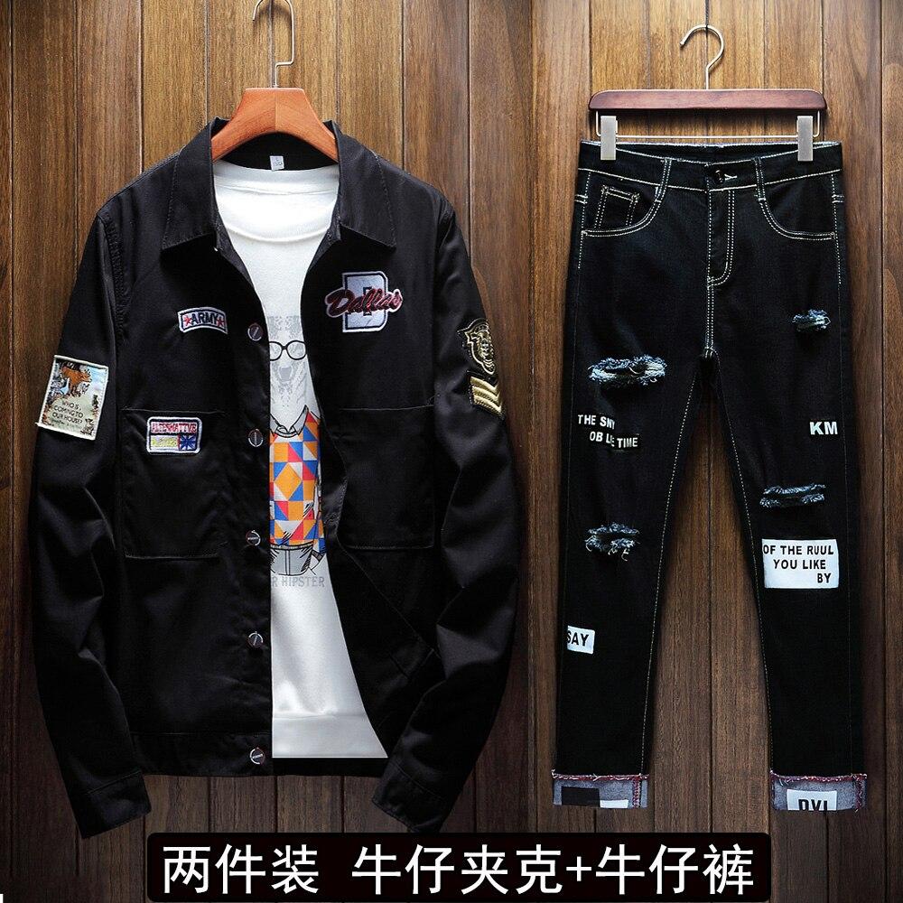 Spring Autumn Mens Korean Style Denim Jacket Jeans Pants 2pcs Set Appliques Letters Decoration Holes Trousers Ripped Pant Boys W