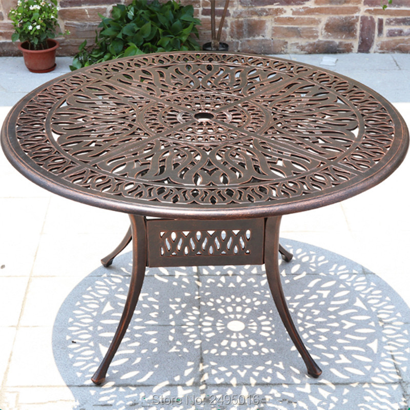 Dia 120cm round Cast aluminum patio dining table outdoor tables for garden chairs heavy duty  in bronze  / black / white color
