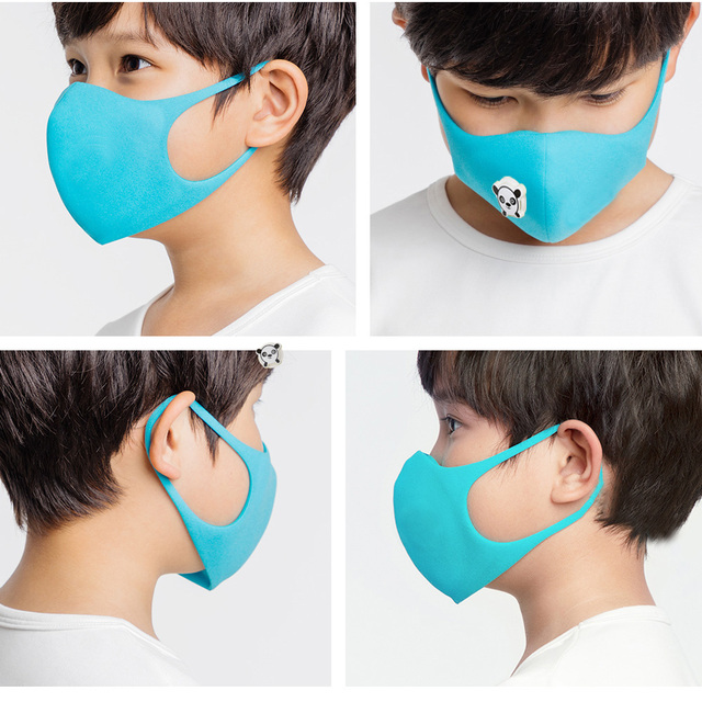 10PCS Cartoon Panda Boys and Girls Valve Masks Black Pink Fashion Masks Dust-Proof Protection Oral Sponge Mask Kpop Mask Kawaii 3